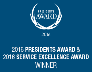2016 Presidents award and 2016 Service Excellence award winner