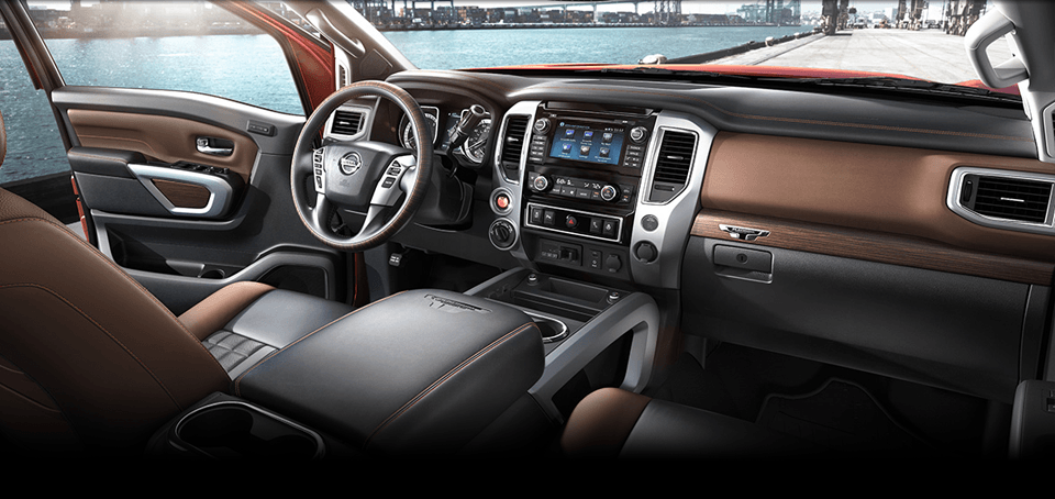 2017 Nissan Titan Interior brown and black leather