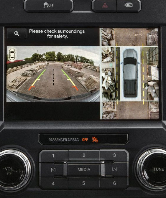 2018 ford f-150 360-degree camera with split-view display