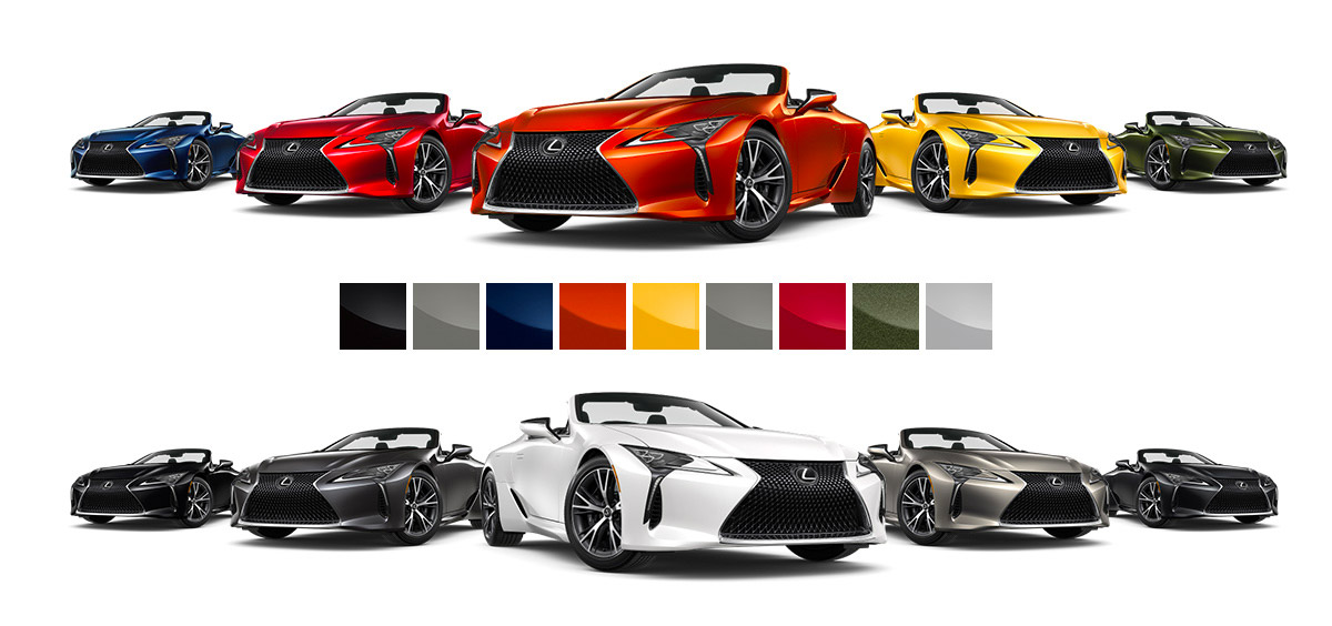 Available colors for the 2021 Lexus LC 500 Convertible