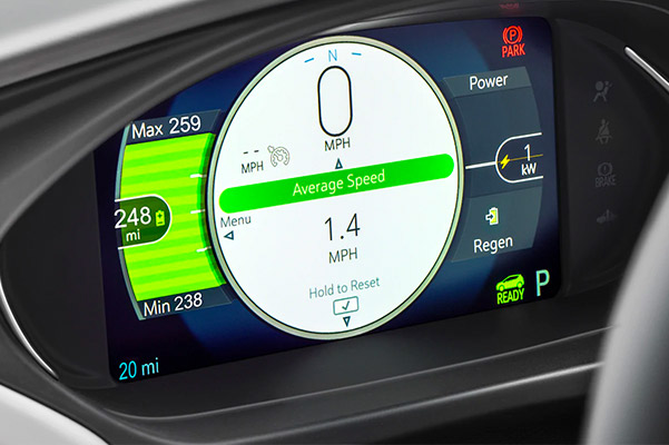 Close up shot of the dashboard in a Chevrolet Bolt