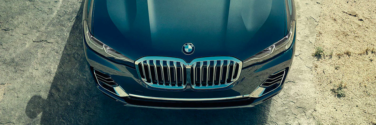 Close up shot of a grill on a BMW
