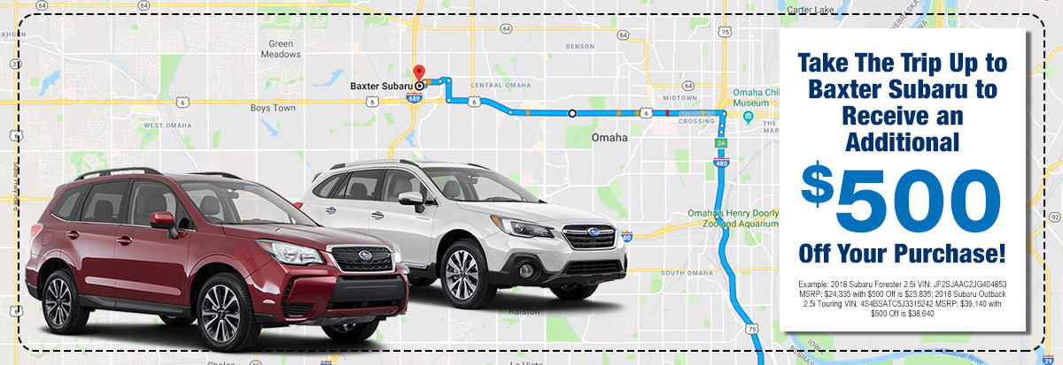 Take The Trip Up to Baxter Subaru to Receive an Additional $500 Off Your Purchase!