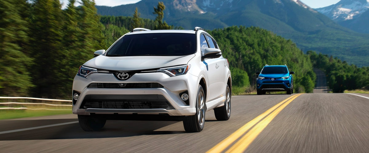 White and blue 2018 Toyota RAV4