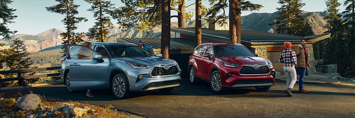 2020 Toyota Highlander parked outside cabin