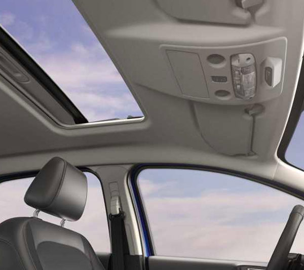 2018 Ford EcoSport interior with open moonroof.