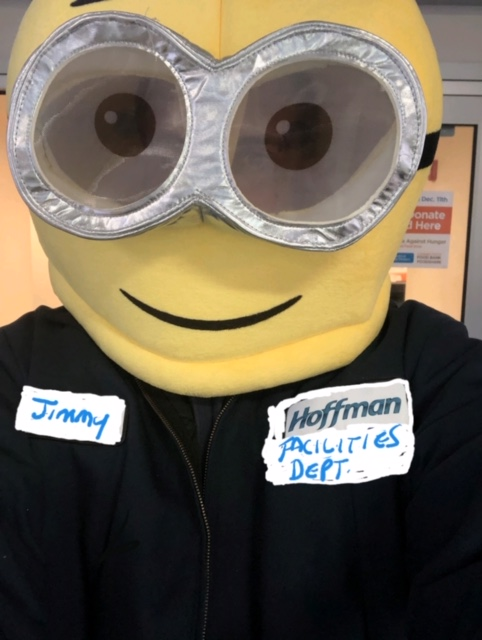 Hoffman employee in a minion costume