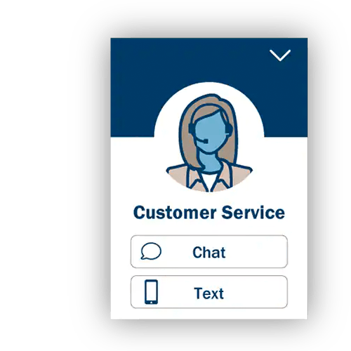 icon of a text or chat option for customer service