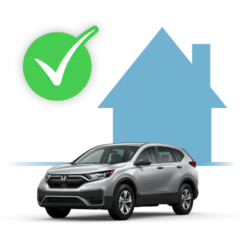 icon of a Honda CR-V in front of a house with a green checkmark