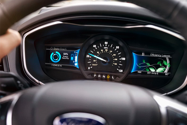 Interior shot of the dashboard in a Ford Fusion