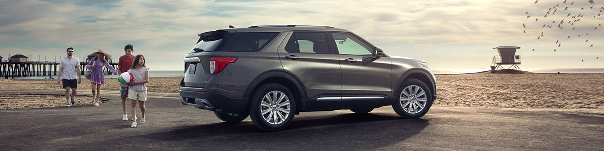 2021 Ford Explorer with family on beach