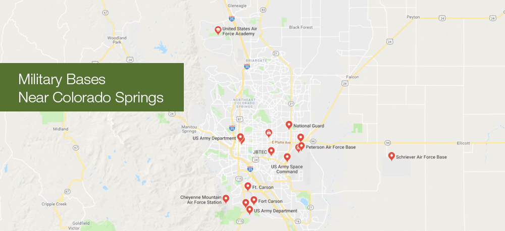 Map of Military Bases near Colorado Springs