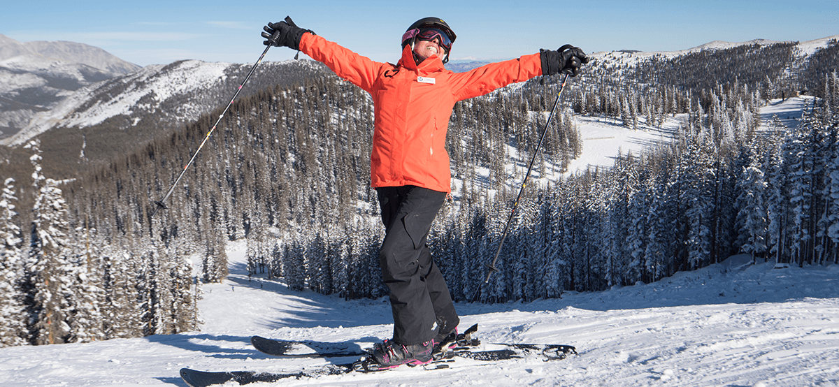 woman on ski slope