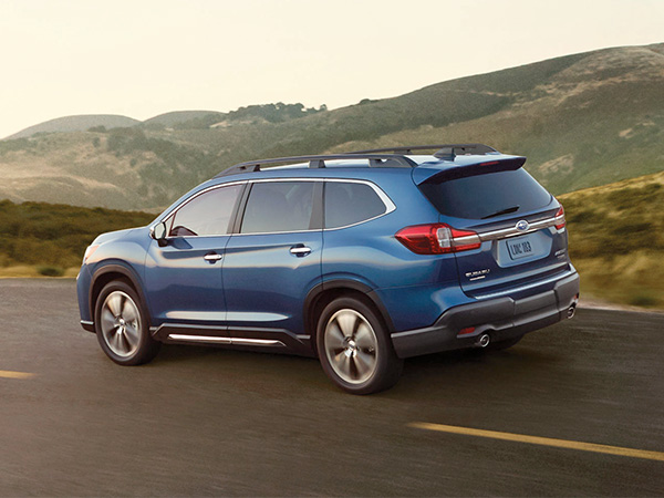 The 2019 Subaru Ascent rear on road