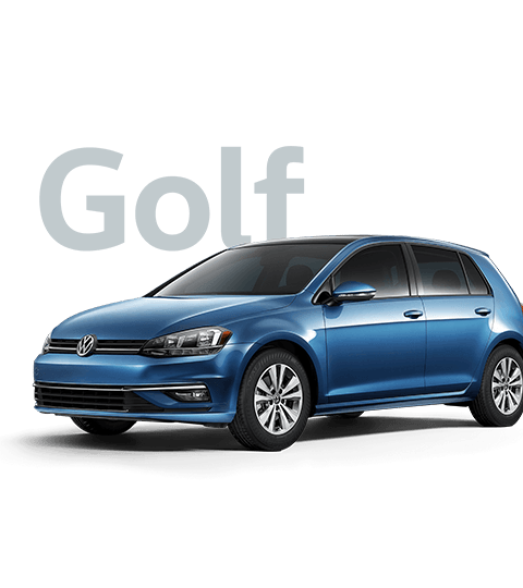 2018 Volkswagen Golf Front in Blue, 'Golf' in Grey Lettering Behind vehicle