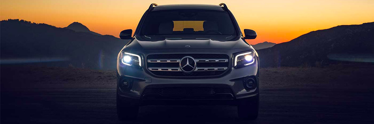 2022 Mercedes-Benz GLB parked in front of a sunset