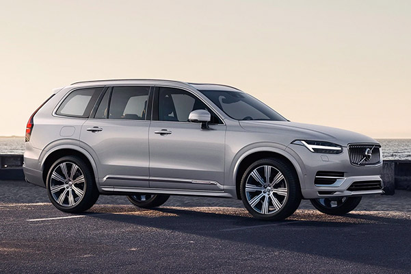2021 Volvo XC90 Recharge parked in a beach parking lot