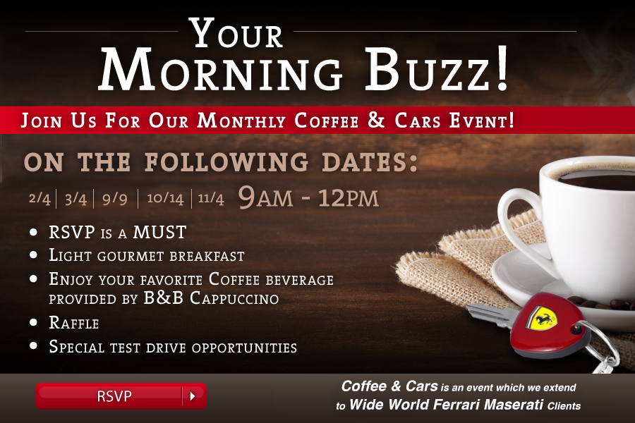 Join Us For a Coffee & Cars Event!