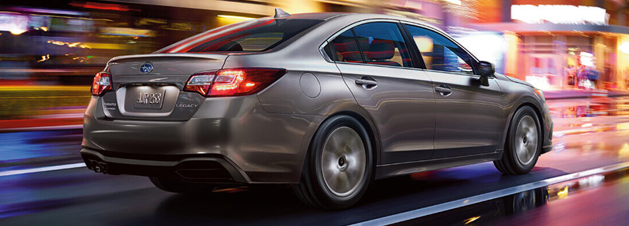 2018 subaru legacy driving rear grey