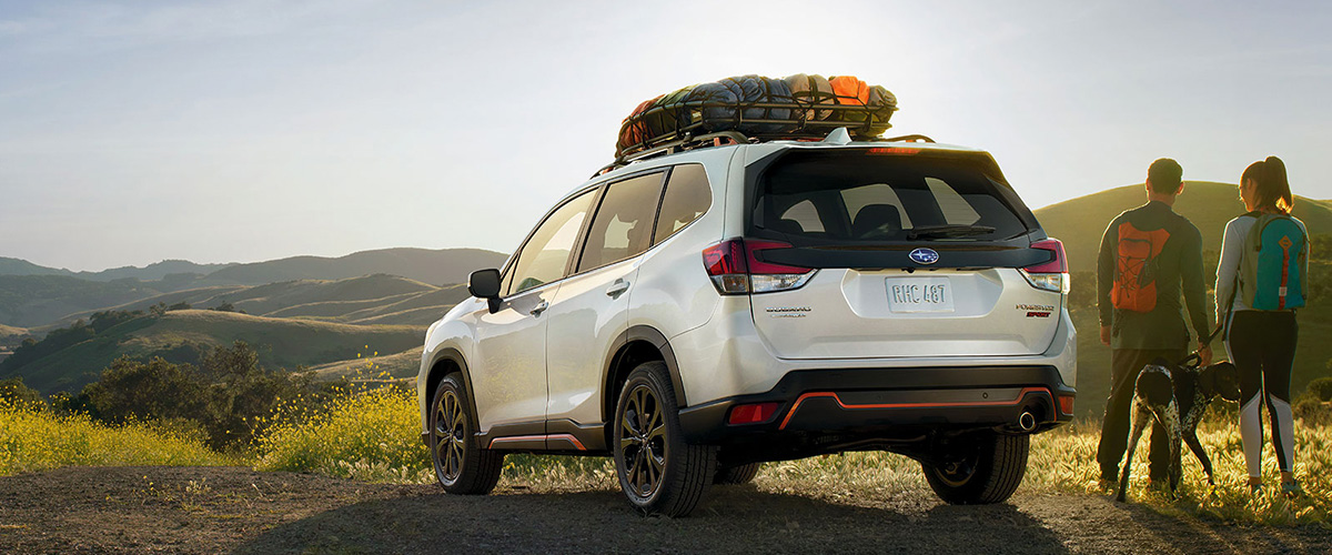 2019 Subaru Forester rear at sunset