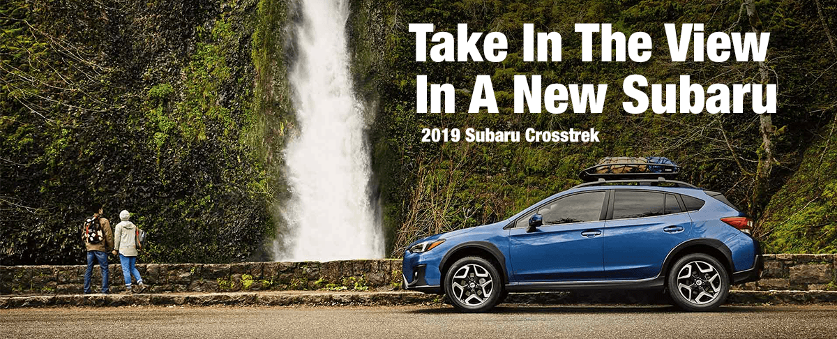 2019 Subaru Crosstrek in front of waterfall
