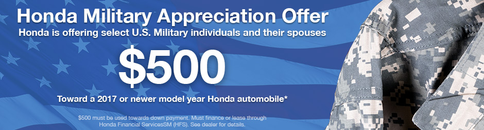 Honda Military Appreciation Offer header