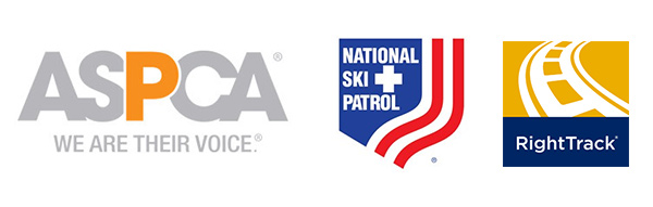 ASPCA, National Ski Patrol, and Righttrack Logos