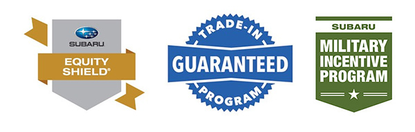 Subaru Equality Shield, Trade-In Guarantee, and Subaru Military Incentive Logos