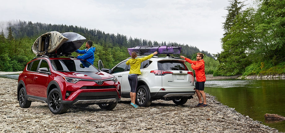 2018 toyota rav4 parked by the creek