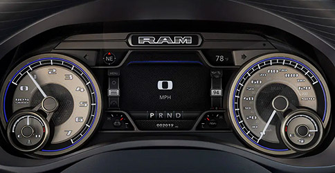 Display A close-up of the Driver Information Digital Cluster Display and instrumentation on the 2020 Ram 1500