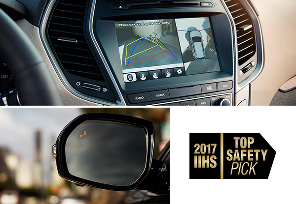 2018 Hyundai Santa Fe backup camera and side mirror assist. 2017 IIHS top safety pick!